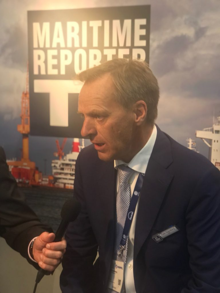 Peter Strandberg being interviewed by Maritime Reporter