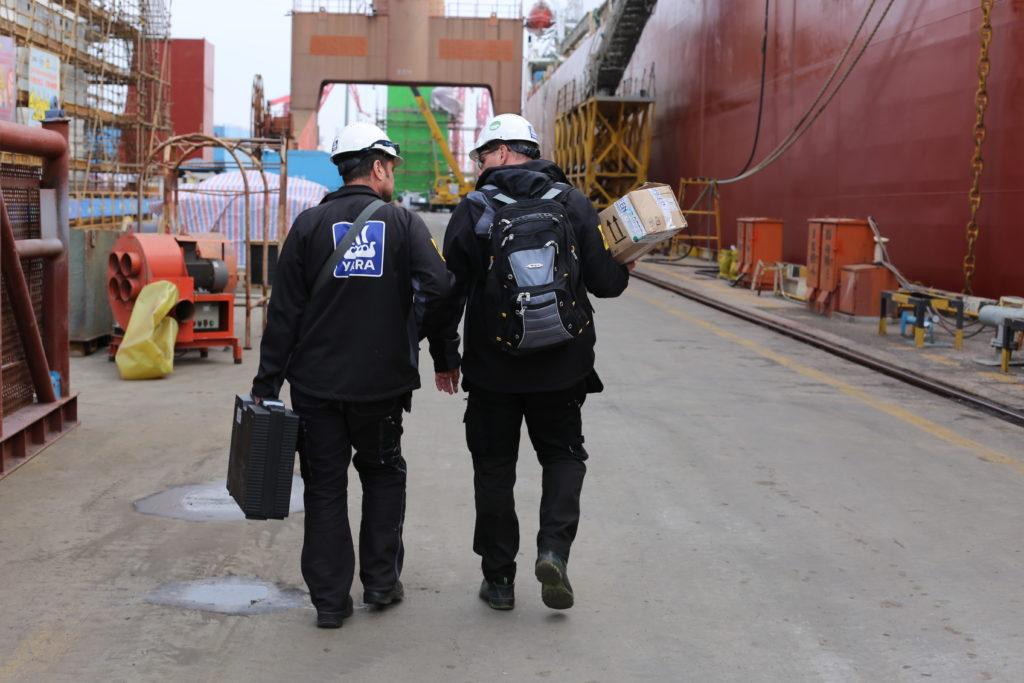 Yara men walking at Shipyard