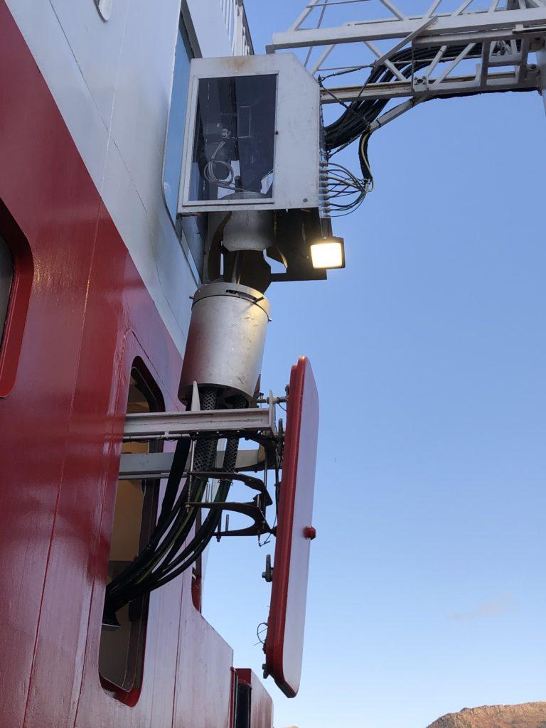 Close up image of NG3 shore power plug connected
